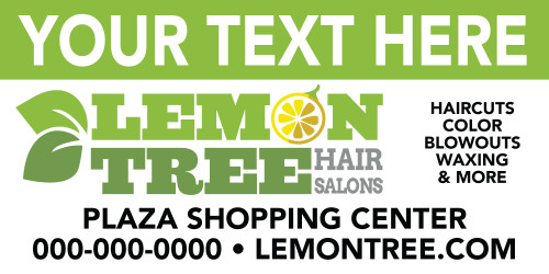 8'x3' Outdoor Banner – CUSTOM TEXT – Lemon Tree