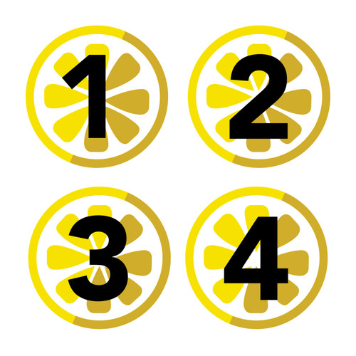 "8"" Floor Decals – Waiting Numbers – Lemon Tree"
