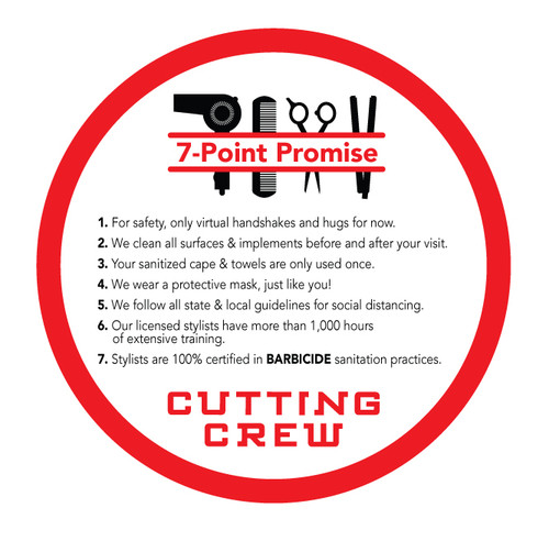 """20"""" Mirror/Window Cling – 7 Point Promise – Single Sided – Cutting Crew"""