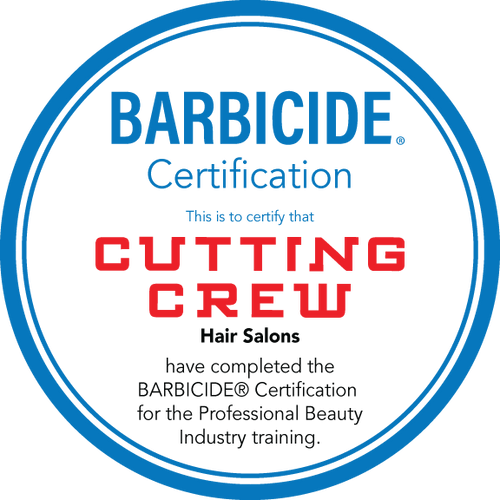 """20"""" Mirror/Window Cling – Barbicide Certification – Single Sided – Cutting Crew"""