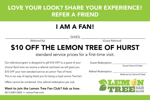 Referral Card  – Lemon Tree