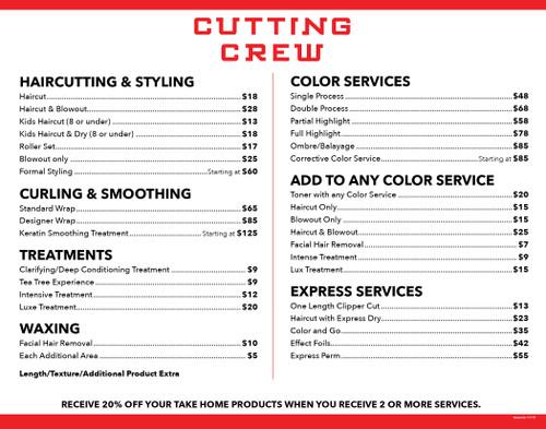 "14""x11"" Salon Menu – Cutting Crew"