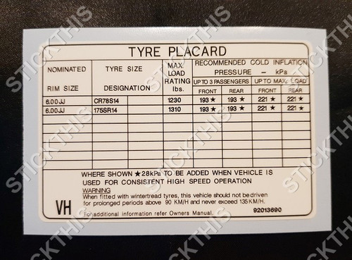 Tyre Placard - Holden VB VC VH 6Cyl Wagon Steel Wheels Decal 92013690