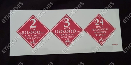 Warranty and Road Side Service Decal - Owners Manual/Book VP