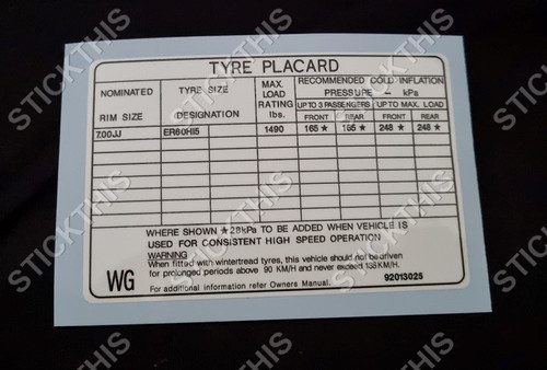 """Tyre Placard - Holden WB Deville Caprice 15"""" Alu Wheels Decal 92013025 WG"""