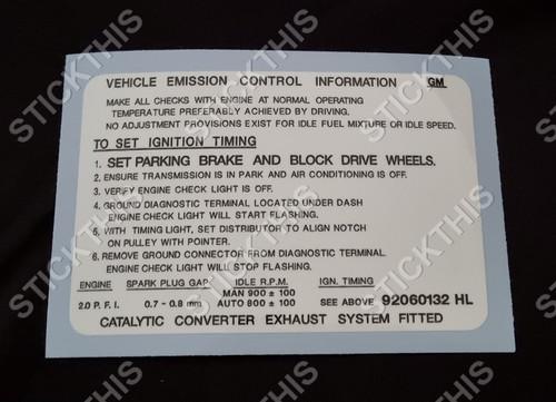 Emission Decal, 2.0L Engine JE Camira