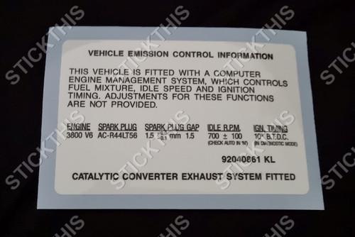Emission Decal 92040861 KL - VN Series 2 and VG, VP V6