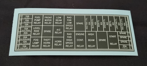 Fuse and Relay Engine Bay Decal - VU, VX, WH and V2