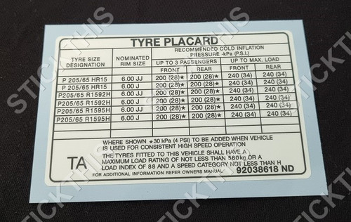 Tyre Placard - VN SS and Calais (Late Model)