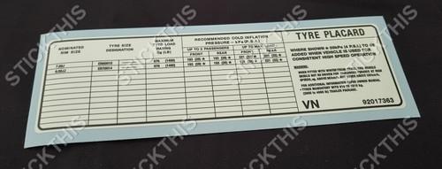 Tyre Placard - VC VH SA Police BT1