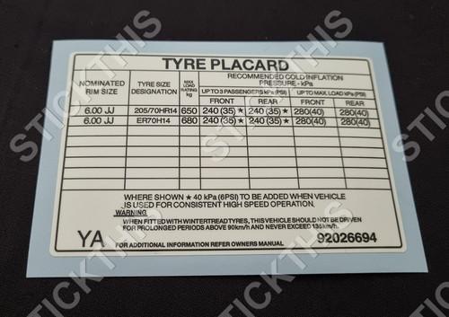 Tyre Placard - VK Sedan with QEU or QZM Tyre Options