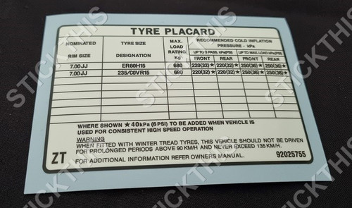 Tyre Placard - VK SS with Performance Suspension