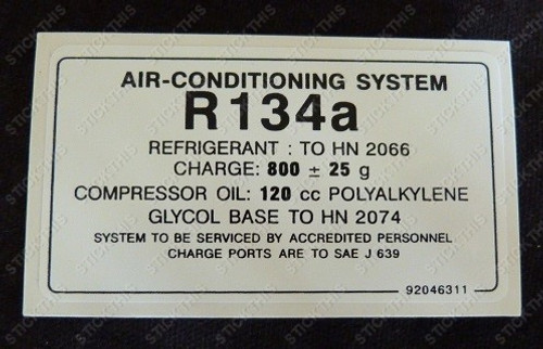 Air Conditioning Gas Decal R134a - VN VP VR VS