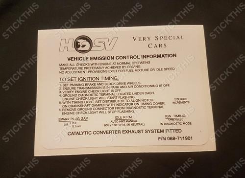 Emission Decal 5.0L - HSV, VR VS