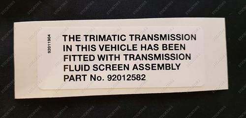 Trimatic Transmission Screen Decal - HG HQ HJ HX HZ WB VB LH LX UC