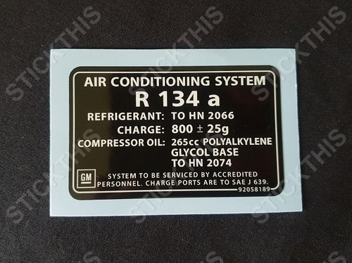 Air Conditioning Gas Decal R134a - VT