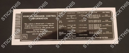 Vehicle Emission Control Information Decal TL - VY and WK Series 1 V6 and V8