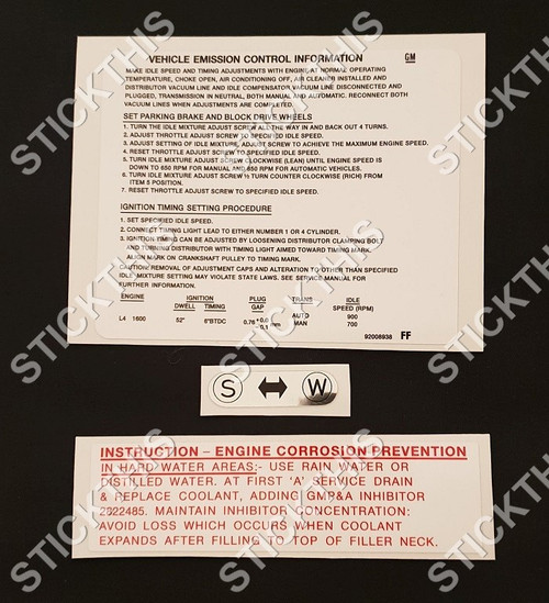 TE Gemini Engine Bay Decal Kit. Emission, Coolant and Air Cleaner