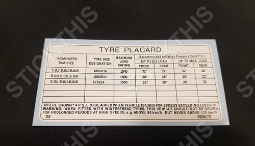 Tyre Placard - HQ and early HJ Ute / Panel Van Including Sandman V8 9930173