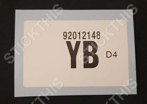 Picking Label YB 92012148 - WB Radiator 308