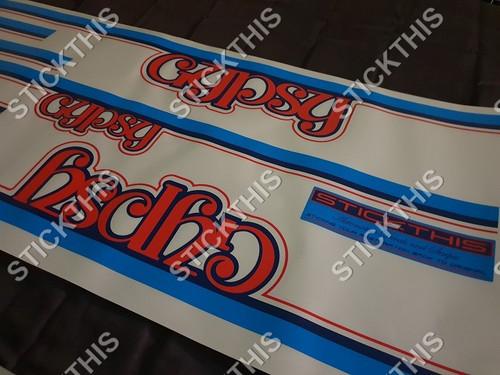 TE Gemini Gypsy Stripe and Decal Kit.  - Darkblue, Blue, Red and Orange