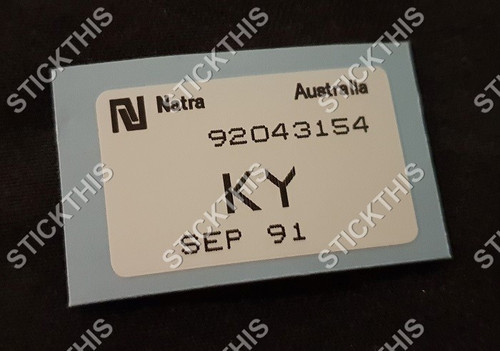 Radiator Parts Picking Label  VN-VS V8 Auto - KY 92043154 (your date)