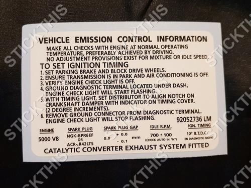 Emission Decal, VS Series 3 - V8