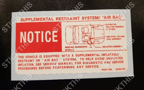 Holden and HSV VS Series 3 - SRS Air Bag Decal