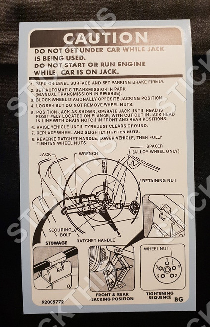 Jack Instruction Decal - UC Sedan