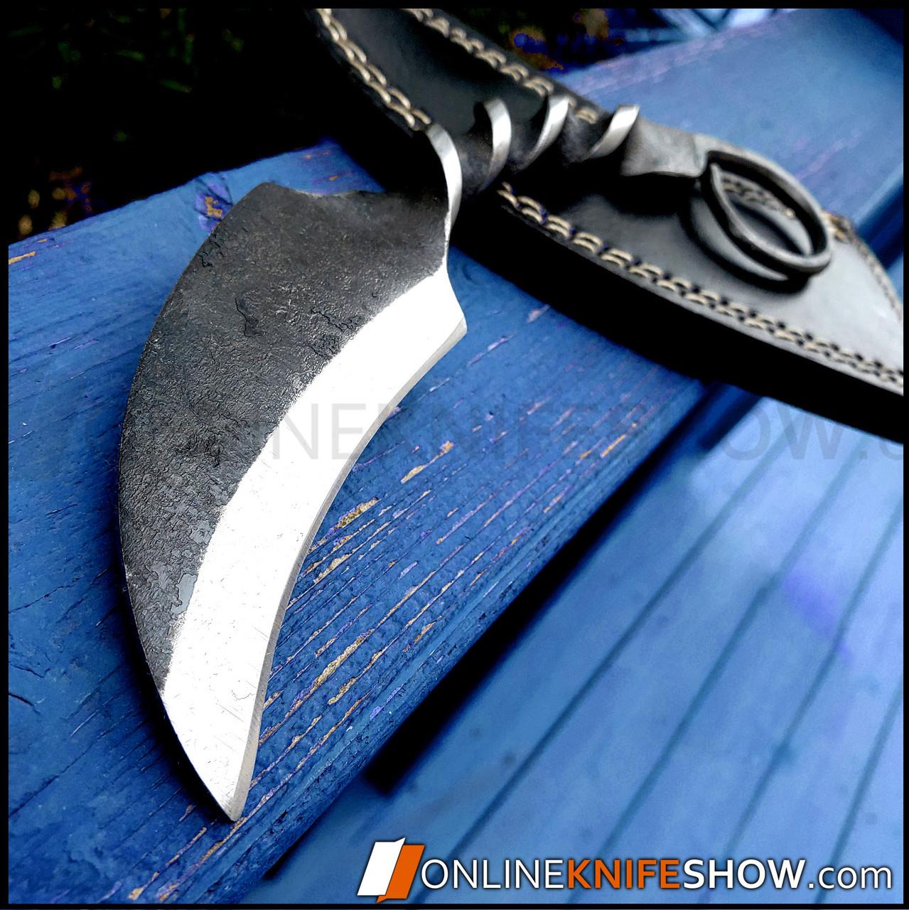Hand Forged Railroad Spike Karambit Carbon Steel Fixed Blade Hunting Knife Sheath