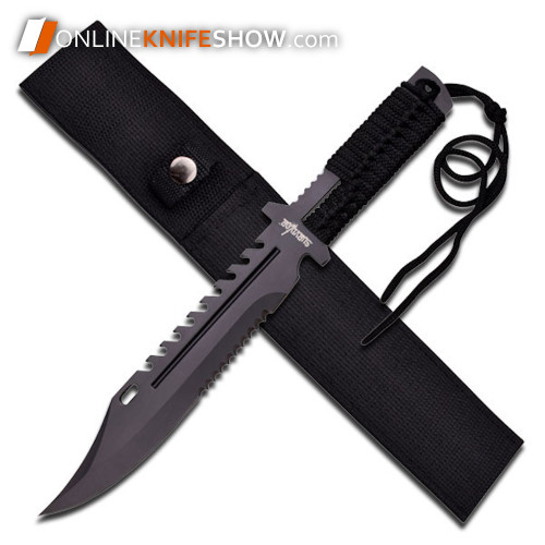 13in Tactical Survival Rambo Full Tang Fixed Blade Knife Hunting w/ Sheath New