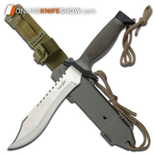 12in Tactical Survival Rambo Hunting Fixed Blade Knife Army Bowie Silver + Sheath