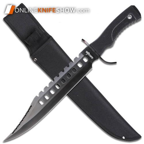 "17"" TACTICAL HUNTING RAMBO Full Tang Fixed Blade Knife MACHETE Bowie w/ Sheath"