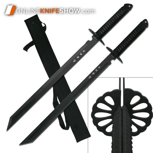 hk-6183-dual-real-ninja-sword-fixed-blade-knives