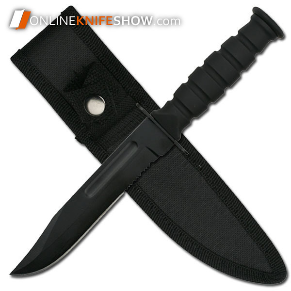 7.5in Military Tactical Combat Knife Survival Hunting Bowie Fixed Blade + Sheath