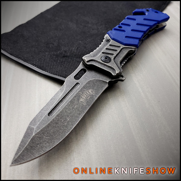 8in Ballistic Blue Military Tactical Spring Assisted Opening Knife Folding Pocket Blade