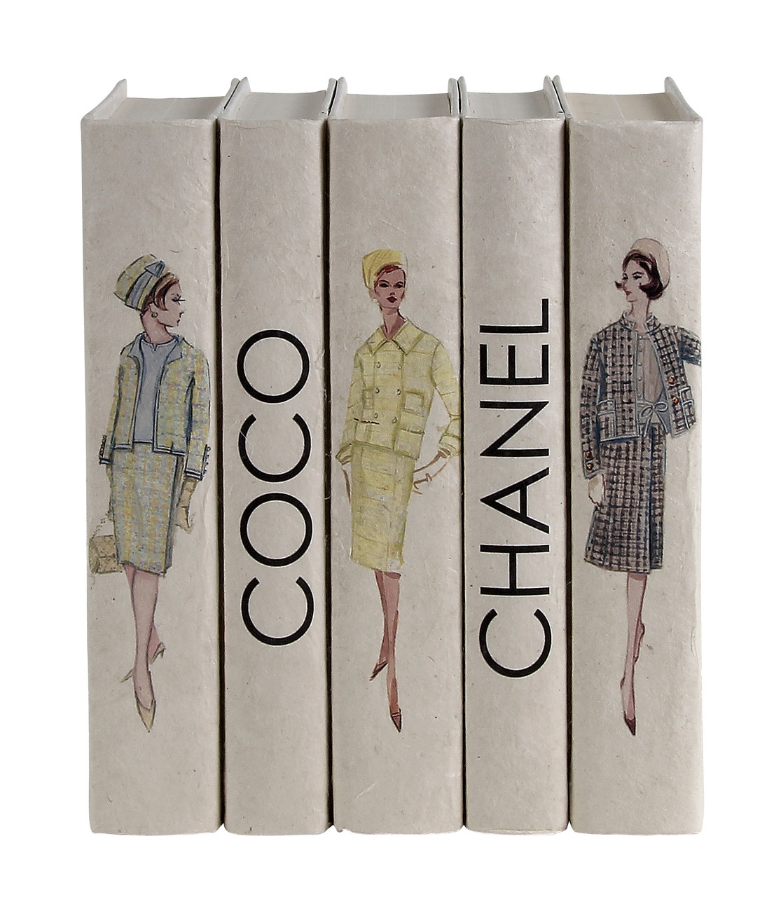 5 Vol. Set of Vintage Coco Chanel Fashion / Off-White Cover / 9.5