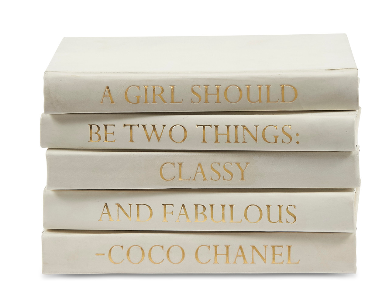 Stack Of Five Vellum White Leather Books With Coco Chanel Quote A Girl Should Be E Lawrence Ltd