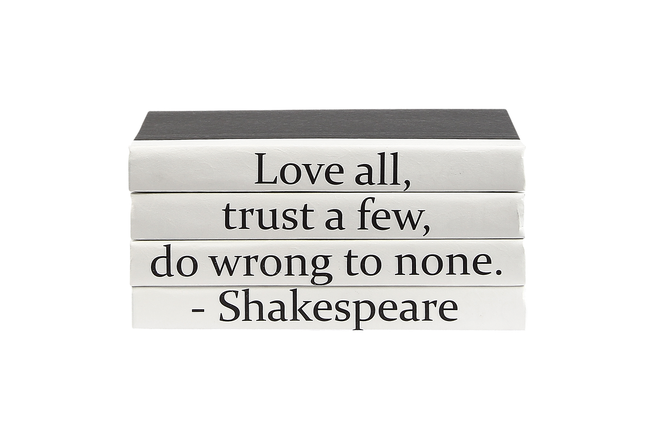 4 Vol Love All Wrong To None Shakespeare Quote Black Covers 9 5 Wide Approx 5 Tall E Lawrence Ltd