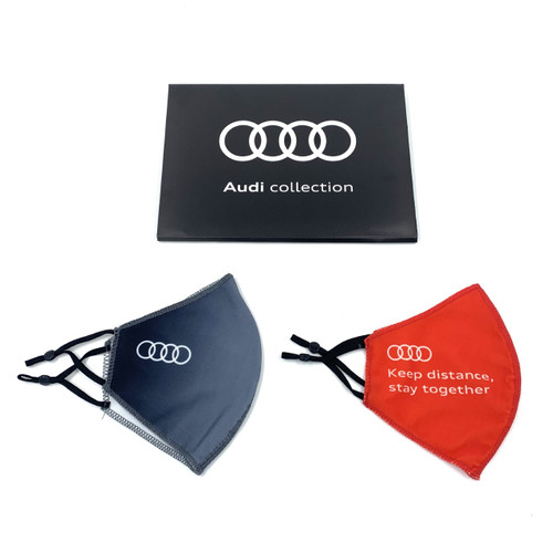 Official Audi mouth-nose mask set - red/grey