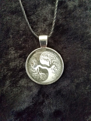 Celtic Knot work Tree Yin Yang (dome necklace)