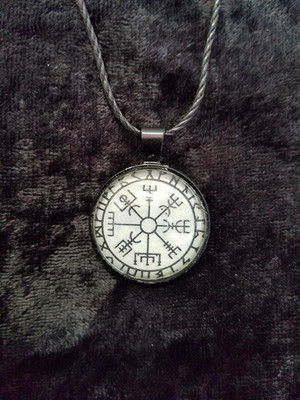 Vegvisir with Runes (dome necklace)
