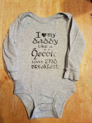 Onesie - Lord of the Rings - I Love Daddy Like A Hobbit Loves 2nd Breakfast