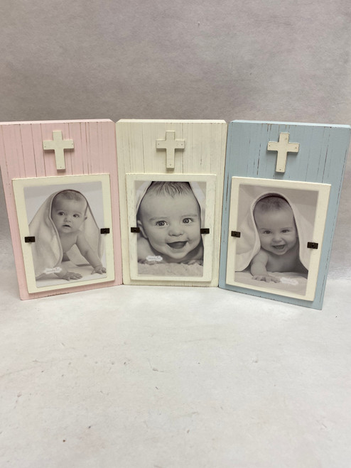 "Mud Pie Kids Cross Christening Theme Wood Block Baby 4"" x 6"" Frame"
