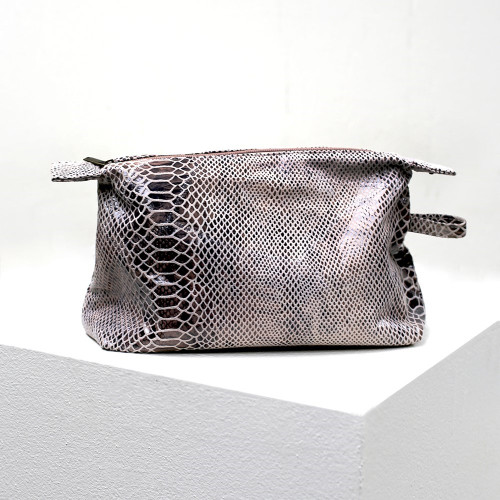 Adeline Python Print Leather Cosmetic