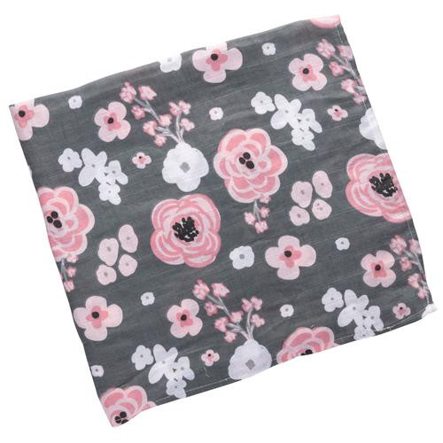 Muslin Baby Swaddle - Charcoal Flower