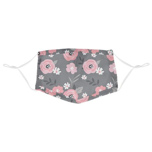 Cotton Face Mask - Charcoal Flower