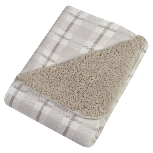 Flannel Plush Blanket - Gray & White Plaid