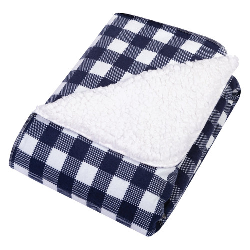 Flannel Plush Blanket - Navy & White Buffalo