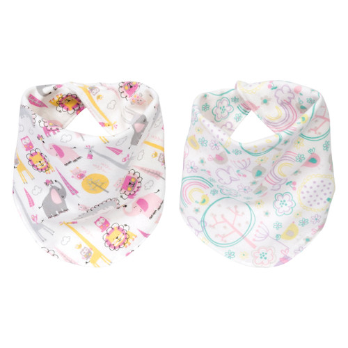Reversible Flannel Bandana Bib Set - Pink Safari